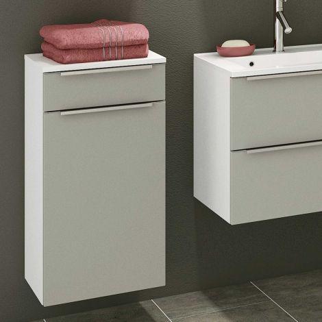 Armoire salle de bains Hansen 40cm 1 porte & 1 tiroir - gris/blanc