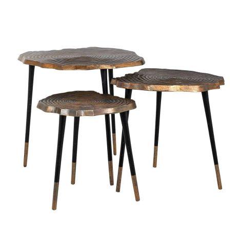 Lot de 3 tables basses Sherman - or