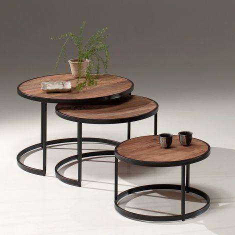 Lot de 3 tables basses Amana industriel