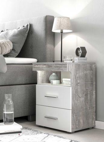 Table de chevet Bedside 2 tiroirs - blanc / béton