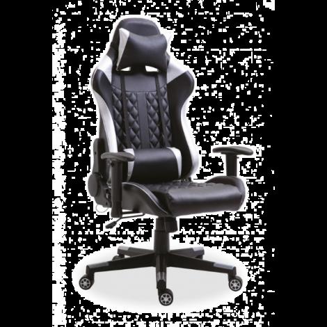 Chaise gamer Nate avec LED - argent/noir