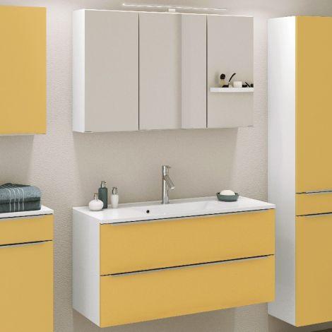 Ensemble salle de bains Hansen 6 100cm - jaune/blanc