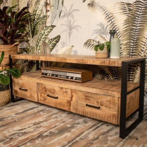 Meuble tv Havana 150cm avec 3 tiroirs - bois de mangue/fer