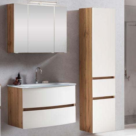 Ensemble salle de bains Kornel 5 à 3 pièces avec vasque blanche - chêne/blanc mat