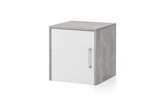 Surmeuble/meuble suspendu Maxi-office 1 porte - béton/blanc