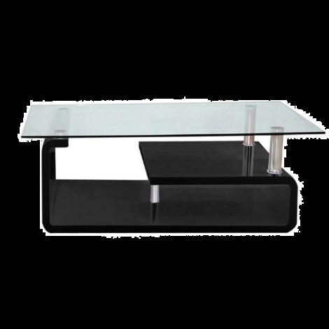 Table basse Hilda avec plateau en verre - noir brillant