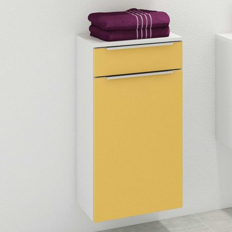Armoire salle de bains Hansen 40cm 1 porte & 1 tiroir - jaune/blanc