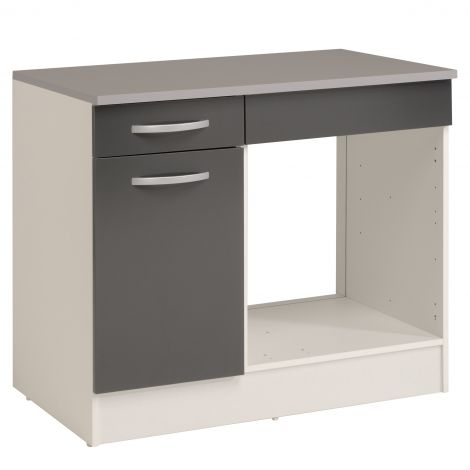Meuble bas Oke pour four 100 cm avec tiroir et porte - gris