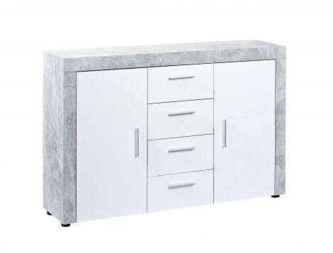 Bahut Béton 2 portes industriel - blanc/gris