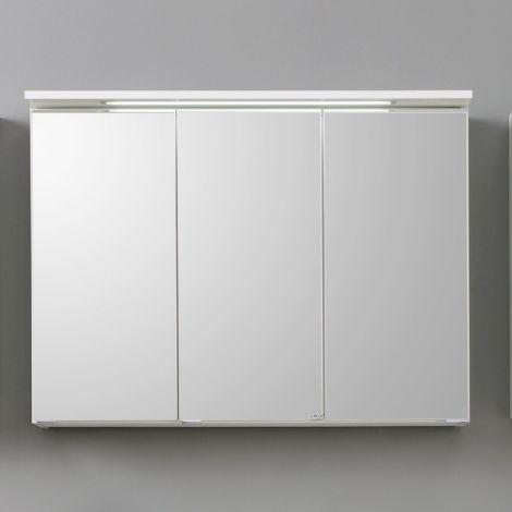 Armoire de toilette Bobbi 90cm modèle 1 3 portes & eclairage LED - blanc