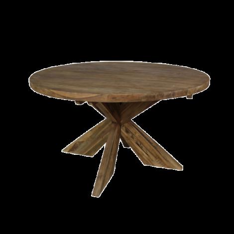 Table à manger Mosy ø150cm ronde au pied croisé - vintage/teak