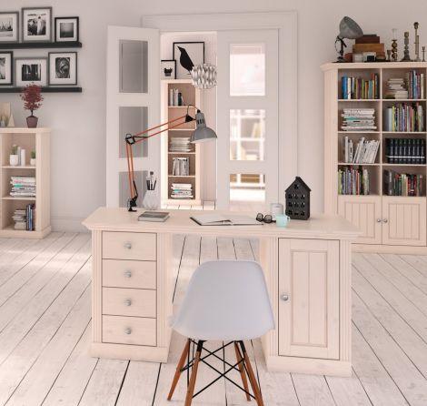 Bureau Edmund 150cm avec 1 porte & 4 tiroirs - blanc
