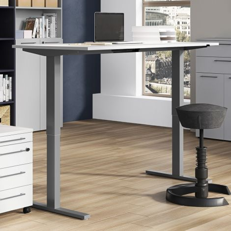 Bureau assis debout Oswald 160 cm électrique - gris clair/argent