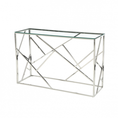 Console Greenland 120cm - argent/verre