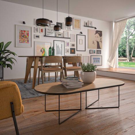 Table basse Adil 136cm - noyer/noir