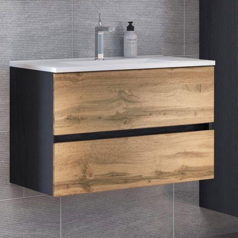 Meuble vasque Luna 80cm 2 tiroirs - graphite/chêne