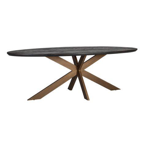 Table à manger Bony ovale 230x100cm - noir/or brossé