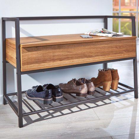 Banc à chaussures Shoeplace industriel - noir/chêne