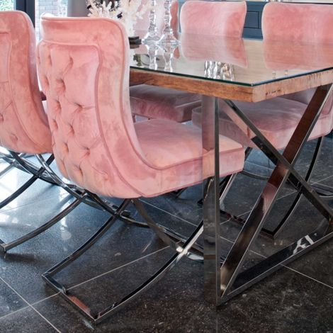 Chaise Cal velours - rose/argent
