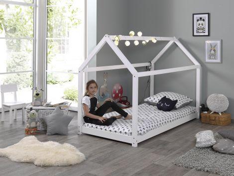 Lit cabane Home 90x200 - blanc