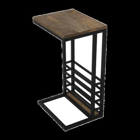 Table d'appoint Read 65cm avec porte-revue - bois de manguier/fer