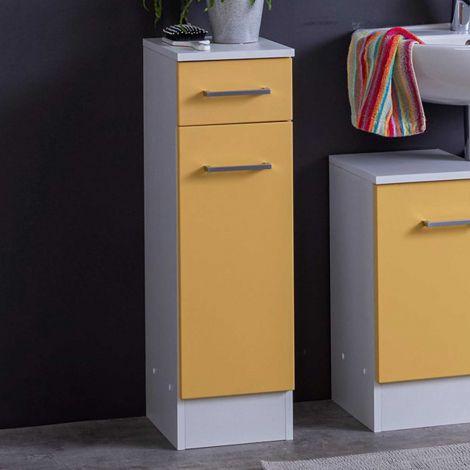 Armoire salle de bains Ricca 25cm 1 porte & 1 tiroir - blanc/jaune