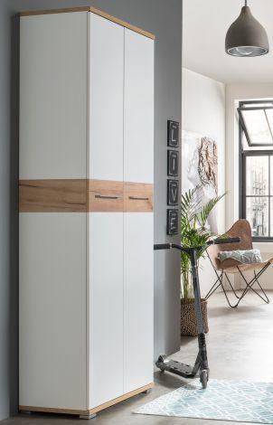 Armoire vestiaire Stoffel 59cm avec 2 portes - blanc/chêne