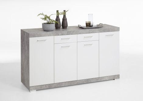 Commode Cristal 4 portes et 2 tiroirs 160x90x50 - béton/blanc brillant
