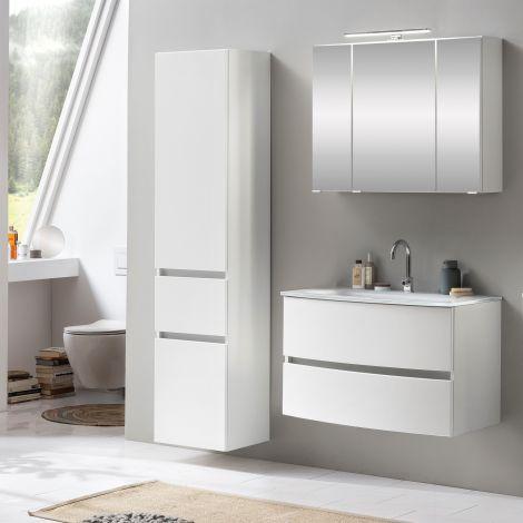 Ensemble salle de bains Kornel 5 à 3 pièces avec vasque blanche - blanc
