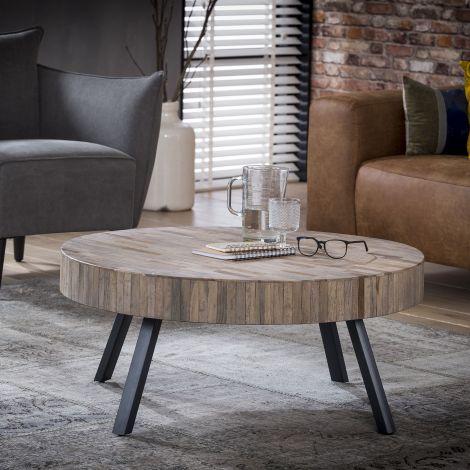 Table basse Teca ø90 industriel - teck