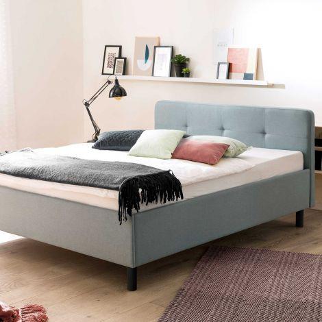 Lit Azis 140x200 avec pieds en bois massif - bleu/graphite