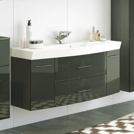Meuble vasque Florent courbé 120cm 2 tiroirs & 2 portes - graphite/gris brillant