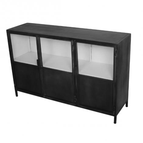 Bahut Bronx 130cm avec 3 portes - gris/blanc