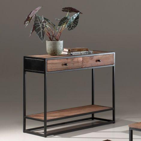 Console Tatum 100cm avec 2 tiroirs industriel - bois recyclé