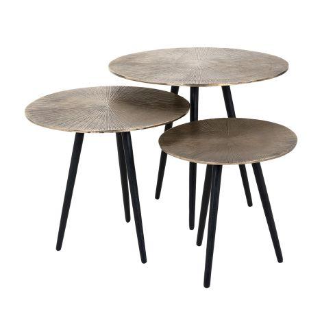 Lot de 3 tables basses Vittorio - or champagne/noir