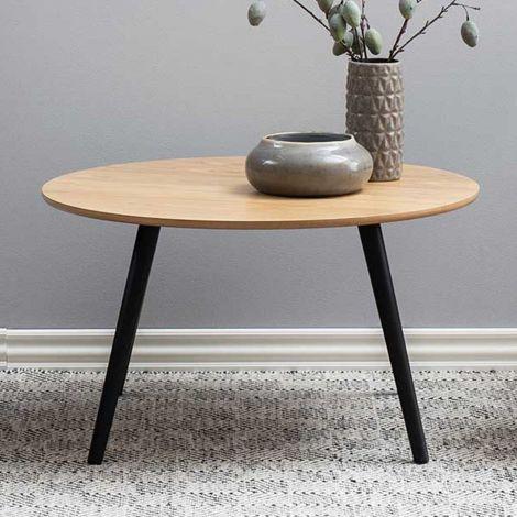 Table basse Hixon Ø80 - frêne/noir