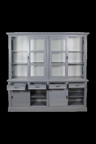 Vaisselier Provence 220cm à 8 portes & 4 tiroirs - gris/blanc