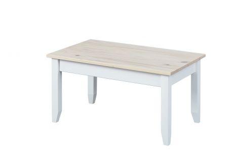 Table basse Flens 90x55 pin massif - blanc/brun