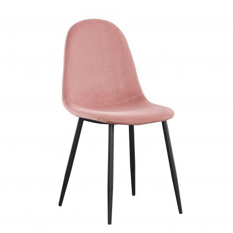 Lot de 4 chaises Jo velours - rose