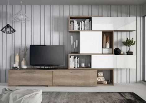 Meuble tv Verena 230cm - chêne/blanc