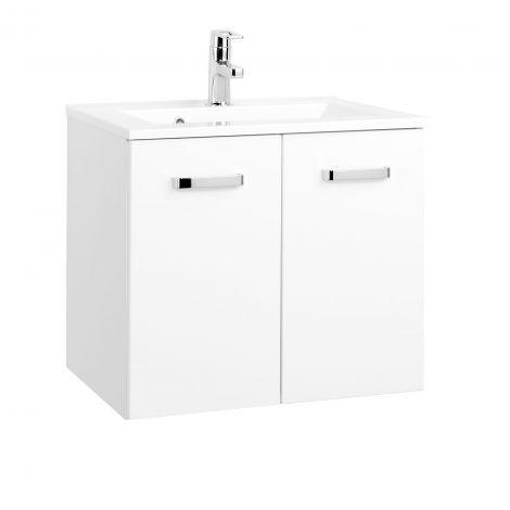 Meuble vasque Bobbi 60cm avec 2 portes et vasque céramique - blanc
