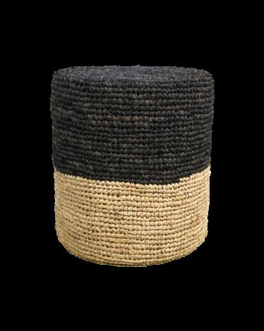 Pouf Malibu ø34cm raphia - naturel/noir