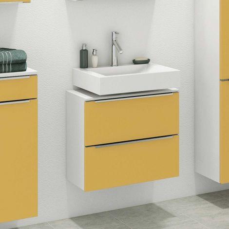 Meuble sous lavabo Hansen 60cm 2 tiroirs - jaune/blanc
