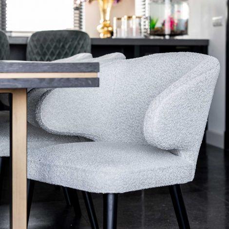 Chaise de salle à manger Indigo bouclé - blanc