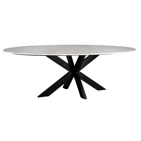 Table à manger Lexington ovale 230cm - blanc/noir