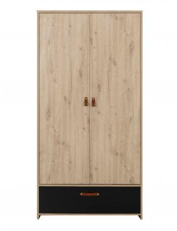 Armoire Liam 102cm avec 2 portes & 1 tiroir - chêne artisan