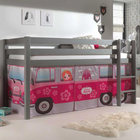 Lit mi-hauteur Charlotte gris avec tente - bus