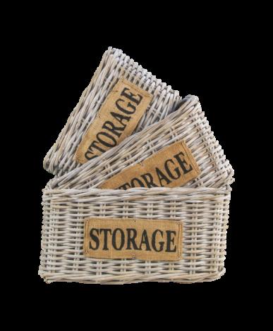 Lot de 3 paniers Storage - koboo/white wash