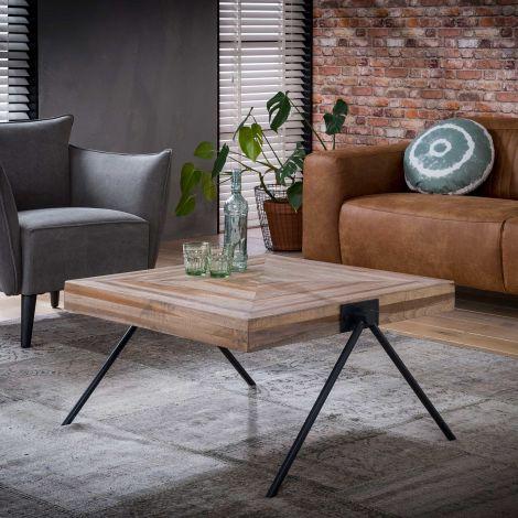 Table basse Teca balance 80x80 industriel - teck