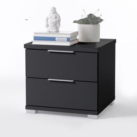 Table de chevet Nacho 46cm avec 2 tiroirs - noir